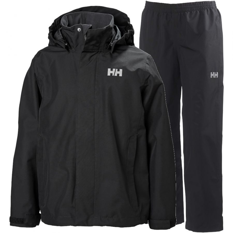Helly Hansen Seven J, regnsæt, junior, sort