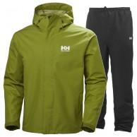 Helly Hansen Seven J, regntøj, sæt, mænd, grøn/sort