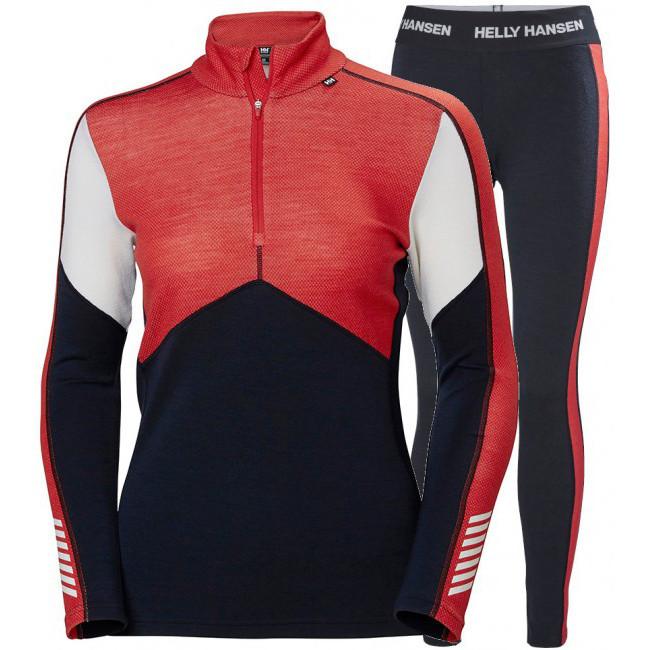 Helly Hansen Lifa Merino H/Z skiundertøj, sæt, dame, mørkeblå