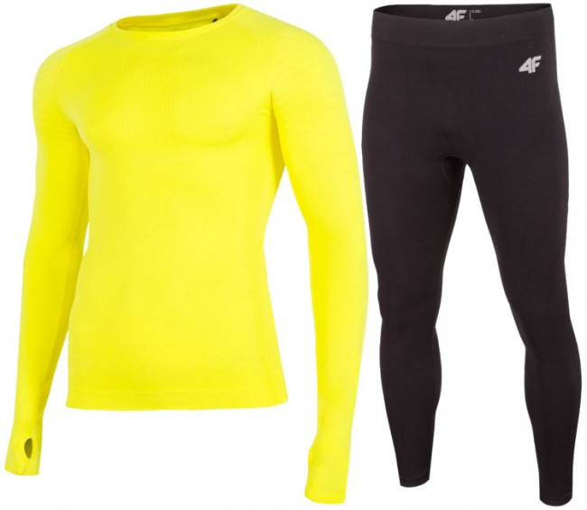 4F skiundertøj sæt, herre, gul/sort