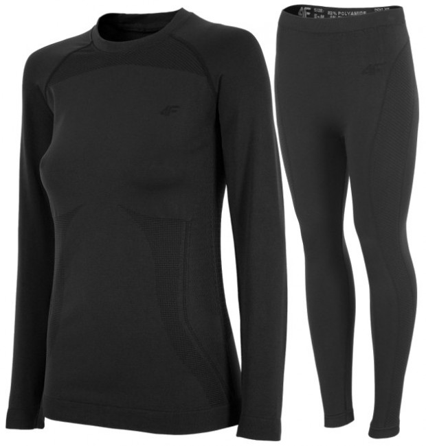 4F seamless baselayer, women, black