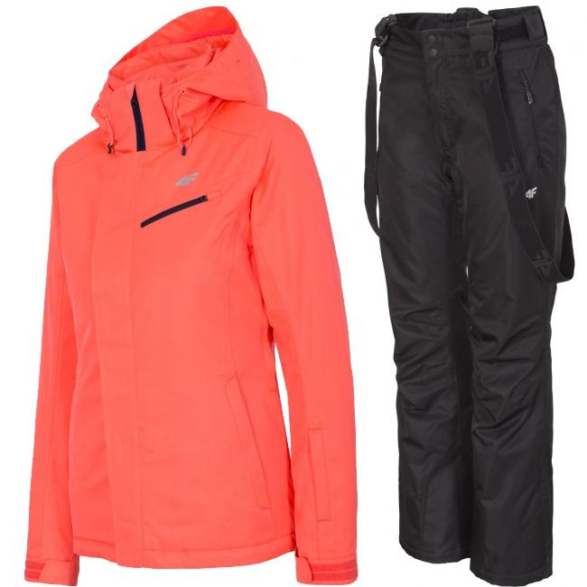 4F Gretha/Laura skisæt, dame, coral/sort
