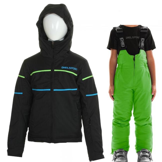 DIEL Sestriere/Sugarloaf Skidset, Junior, Svart/grön