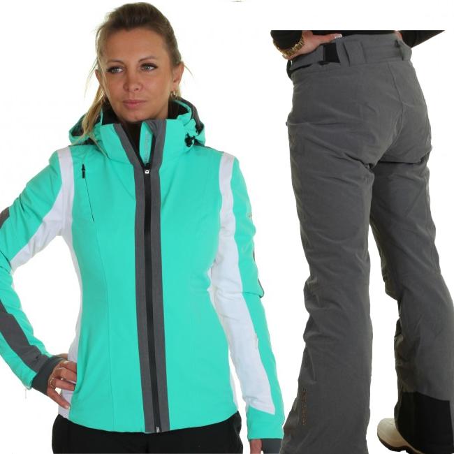 DIEL Cortina/Val Gardena skisæt, dame, grøn/grå