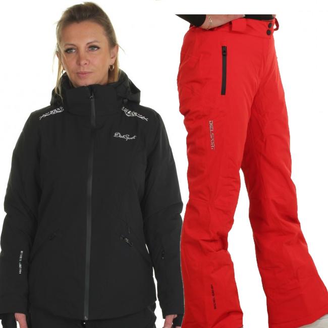 DIEL Zermatt/Livigno skidset, dam, svart/röd