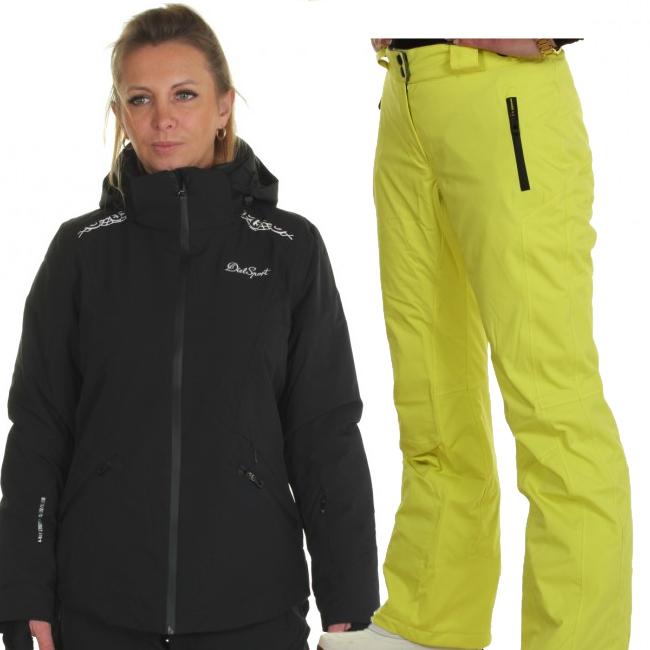 DIEL Zermatt/Livigno skidset, dam, svart/gul