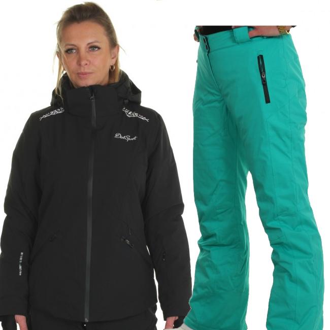 DIEL Zermatt/Livigno skidset, dam, svart/grön