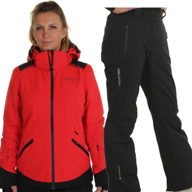 DIEL Zermatt/Livigno skidset, dam, röd/svart