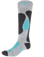 4F Ski Socks, skistrømper til damer, billige, grå/turkis