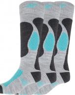4F Ski Socks, billige skistrømper til dame, 3-par, grå/turkis