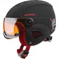 Alpina Carat LE Visor, junior skihjelm med visir, sort/rød