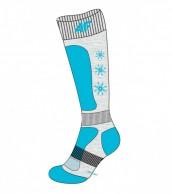 4F Ski Socks, billige børneskistrømper, grå/turkis