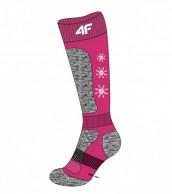 4F Ski Socks, billige børneskistrømper, fuchsia/grå