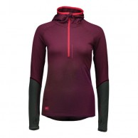Mons Royale Checklist Hood LS, skiundertrøje, Burgundy Forest Green