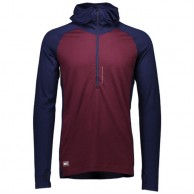 Mons Royale Checklist Hood LS, skiundertrøje, Navy Burgundy