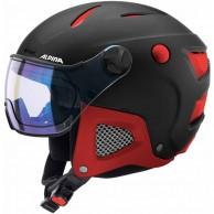 Alpina Attelas Visor VHM, skihjelm med visir, sort/rød