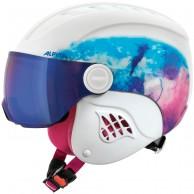 Alpina Carat LE Visor HM, junior skihjelm med visir, hvid/blå