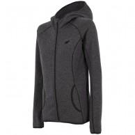4F fleece jakke m. hætte, dame, mørk grå