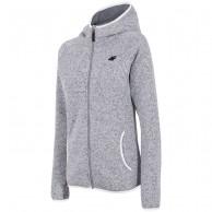 4F fleece jakke m. hætte, dame, lysegrå