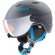 Uvex junior pro, skihjelm med visir, titanium blå