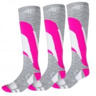 4F Ski Socks, 3 par billige skistrømper, dame, pink