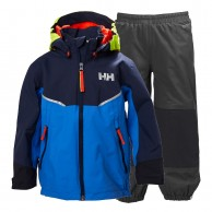 Helly Hansen K Shelter, regnsæt, børn, blå/grå
