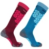 Salomon S/Access skistrømper, 2-pak, beet red/enamel blue