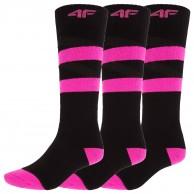 4F 3 par billige skistrømper, dame, deep black
