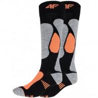 4F skistrømper, dame, 2 par, sort/orange