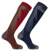 Salomon S/Access skistrømper, 2-pak, rød/mørkeblå