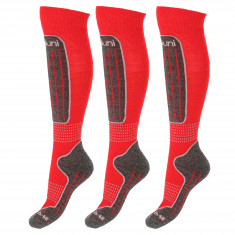 Deluni skistrømper, 3 par rød, Betal for 2