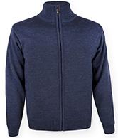 Kama nordisk sweater m. Windstopper, hel lynlås, blå
