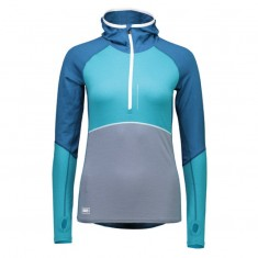 Mons Royale Checklist Hood LS, skiundertrøje, Blue Steel Aqua