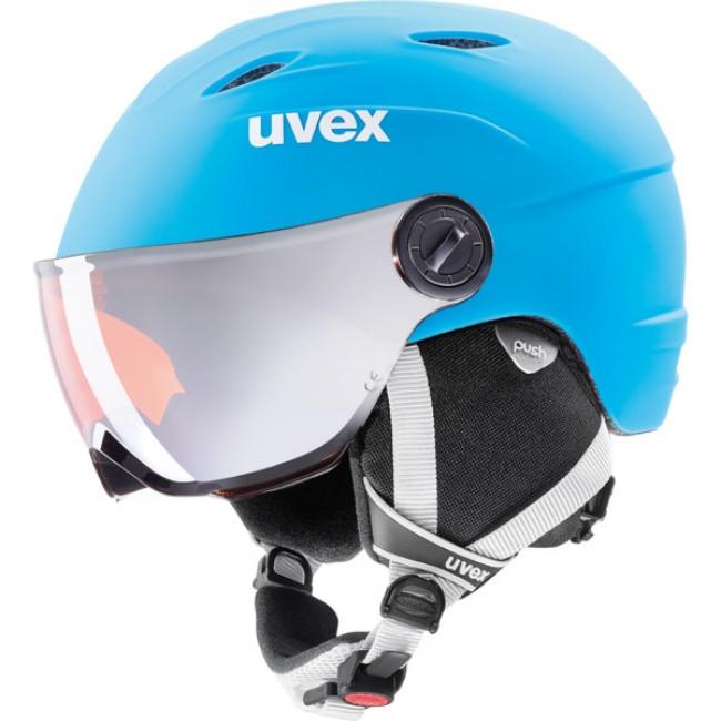 45efe4c00 Uvex junior pro, skihjelm med visir, mat blå